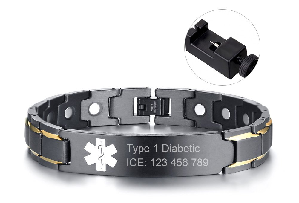 Custom Free Engraving Black Stainless Steel Magnetic Therapy Health Emergancy Medical Alert ID Bracelets for Men Dad,8.6''