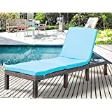 Leisure Zone Patio Furniture Outdoor Adjustable PE Rattan Wicker Chaise Lounge Chair Sunbed (Blue Cushion)