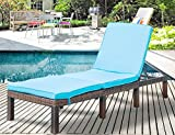 Leisure Zone Patio Furniture Outdoor Adjustable PE Rattan Wicker Chaise Lounge Chair Sunbed (Blue Cushion) For Sale