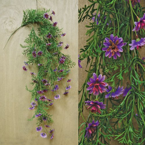 Lavender Star Daisy Hanging Vine Purple Magenta Flowers Country Primitive Floral Décor