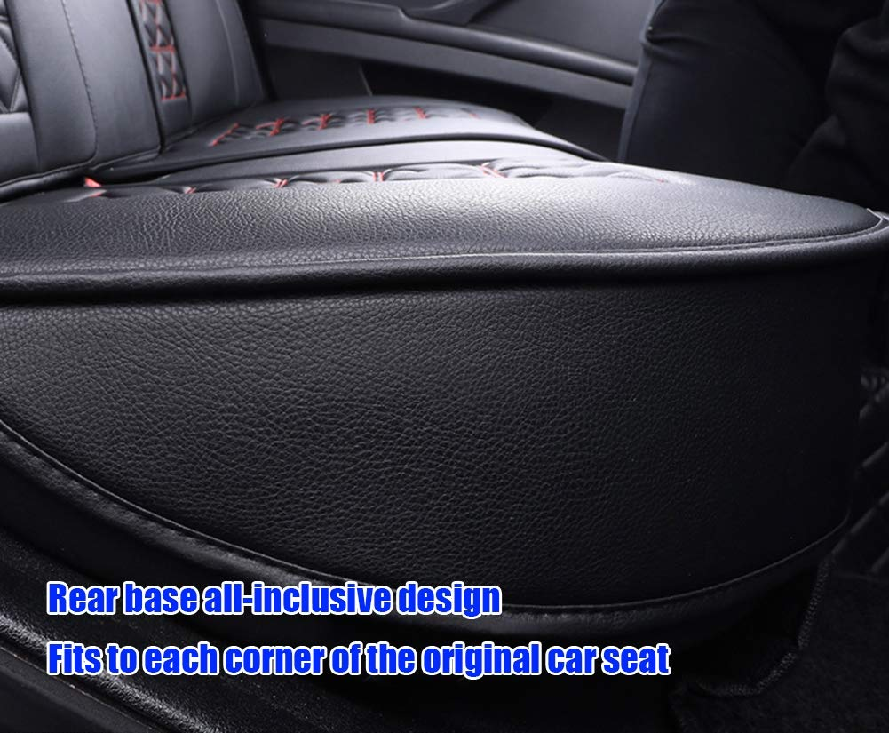 Compatible With Airbags Five Seasons Universal Seat Cover,Beige New Cushions Leather Front And Rear Seat Covers