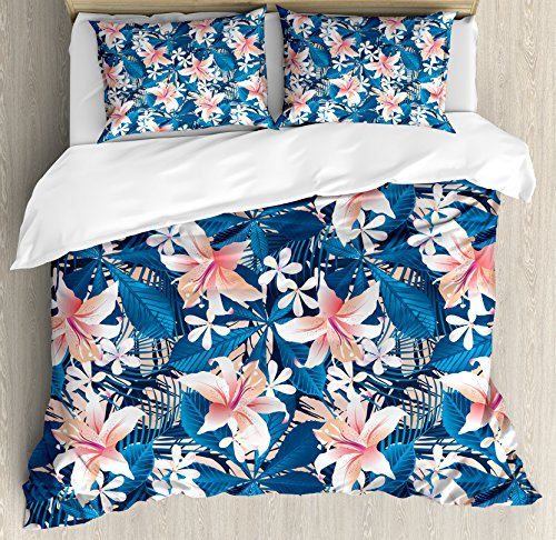 - Leaf Queen Size Duvet Cover Set by Ambesonne, Singapore Plumeria and Tropical Hibiscus Hawaiian Flowers Grunge Design, Decorative 3 Piece Bedding Set with 2 Pillow Shams, Pink White and Dark Blue