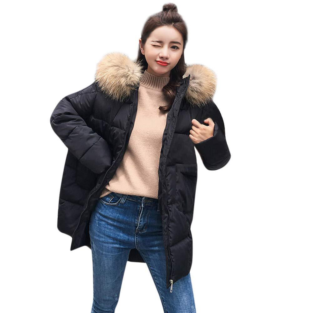 NUWFOR Women Quilted Faux Fur Jackets Warm Parka Lined Belted Insulated Puffer Coats for Winter(Black,M)