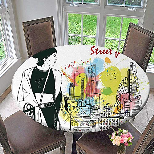 Mikihome Chateau Easy-Care Cloth Tablecloth Decor Girl in Hovel Style Clothes Citys Skyscrapper Scene Street Fashion Black White for Home, Party, Wedding 55