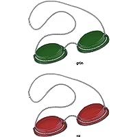 Solariumskyddsglasögon, UV-glasögon, solariumglas med elastiskt band, 1 x grön + 1 x röd – från Beauty & Legwear Store