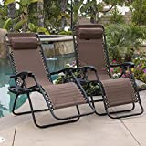 Belleze Padded Zero Gravity Lounge Chair Patio Foldable Adjustable Reclining w/Cup Holder for Outdoor Yard Porch, Brown