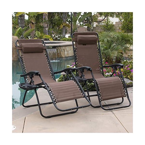 Belleze 2-Pack Zero Gravity Chairs - Brown