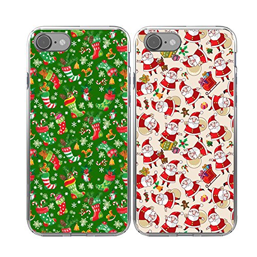 iPhone7 Christmas Cases Couple,TTOTT Christmas Gift 2X Floral Merry Christmas Santa Claus New Fashion Slim Bumper Anti Scratch Shockproof Matching Couple Cases for iPhone 7 4.7inch