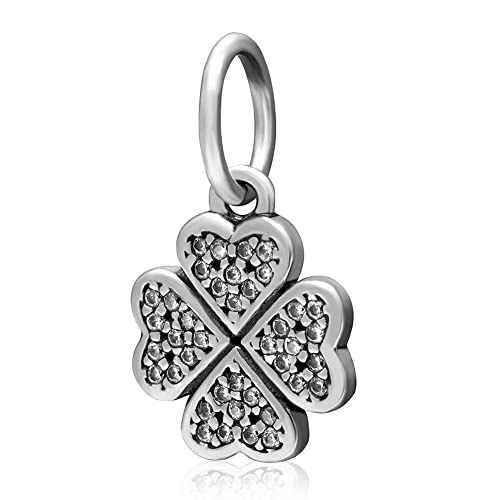 Amazon Com Four Leaf Clover Charm 925 Sterling Silver Heart Beads
