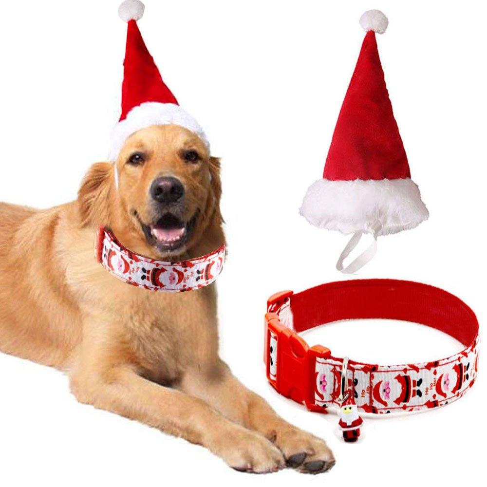 Bolbove Big Christmas Hat and Santa Collar with Bell for Medium to Large Dogs (Large)
