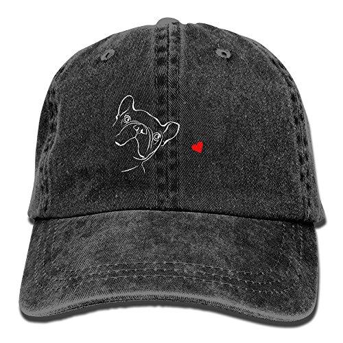 French Bulldog Cap - MANMESH HATT Cute Baby French Bulldog Unisex Adult Adjustable Cowboy Dad Hats Black