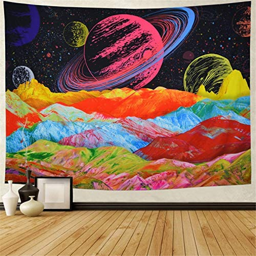 Planet with Mountains Tapestry Colorful Trippy Tapestry Psychedelic Galaxy Space Tapestry Fantasy Universe Tapestry Starry Planets Wall Tapestry for Room W92.5 H70.8