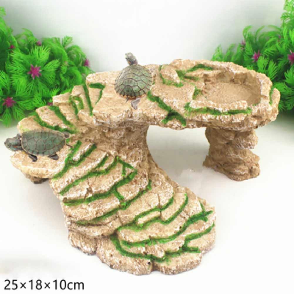 Etbotu - Piattaforma per tartarughe decorativa, design a gradini 'Chinampa', per acquario e terrario Style a