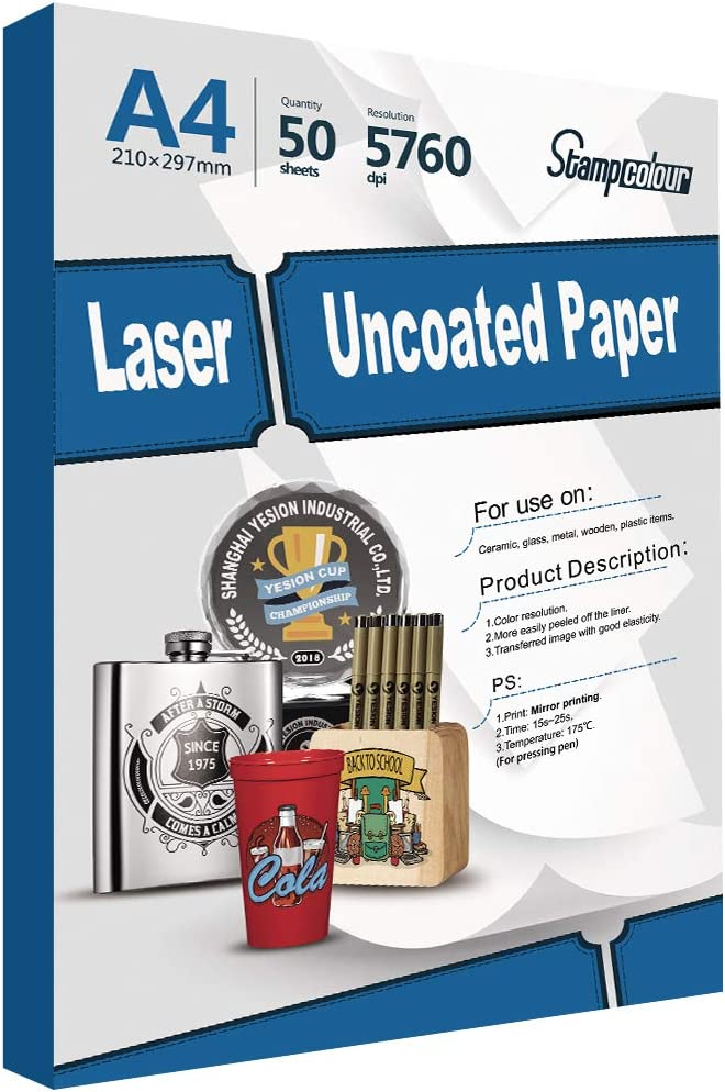 Stampcolour Laser uncoated Transfer Papers for Pen Printed with Laser Printer Like OKI : Office Products
