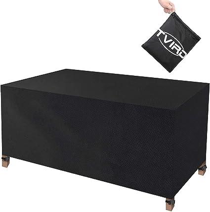 Oferta amazon: Tvird Funda para Muebles Impermeable,Funda Mesa Jardin,Cubierta para Exterior Funda Protectora Muebles Mesas Sillas Sofás Exterior 420D Oxford Impermeables Anti-Viento/UV(170 x 94 x 70CM)-Negro