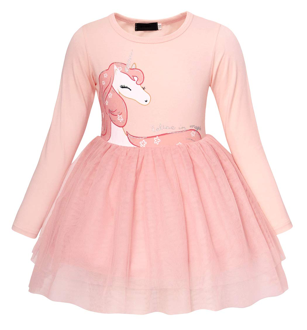 AmzBarley Girls Unicorn Long Sleeve Dress Christmas Tulle Skirt 8