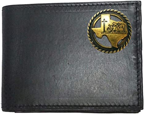 Proudly made in the USA. Custom Praying Cowboy Church Concho on a Black Harness Leather Bi-fold Wallet