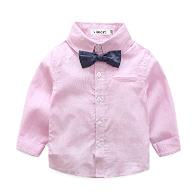 5b05e7f30402 Amazon.com: Baby Boy Shirt and Tie Sets Long Sleeve Woven Top+ Bowknot+  Shorts with Suspender Straps Outfits: Clothing