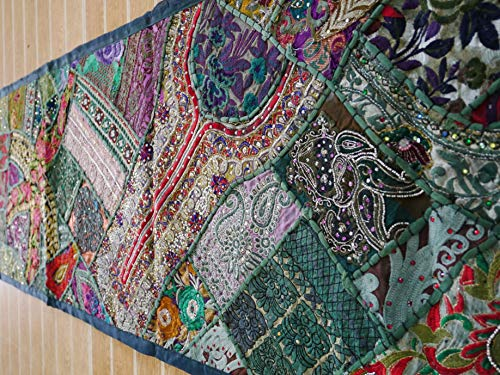 Indian tapestry, patchwork wall hanging or table runner, vintage sari bohemian - Tapestry Sari