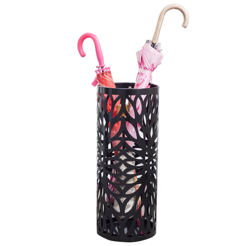 XUEXUE Umbrella Stand Family Hotel Lobby Umbrella Storage Rack Personality Hollow Umbrella Bucket 20x50cm (Color : Black)