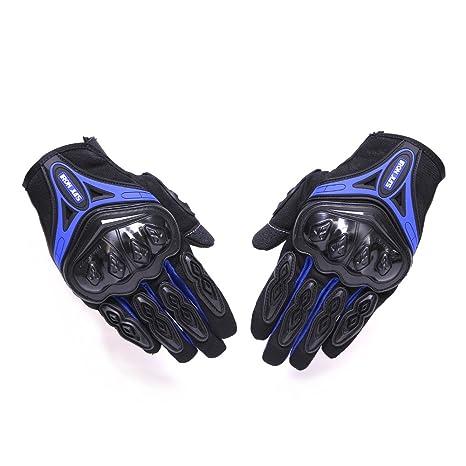 IRON JIAS Guantes de motos Par Guantes Dedo Completo PU Proteccion para Moto Bici Motocicleta Motorista