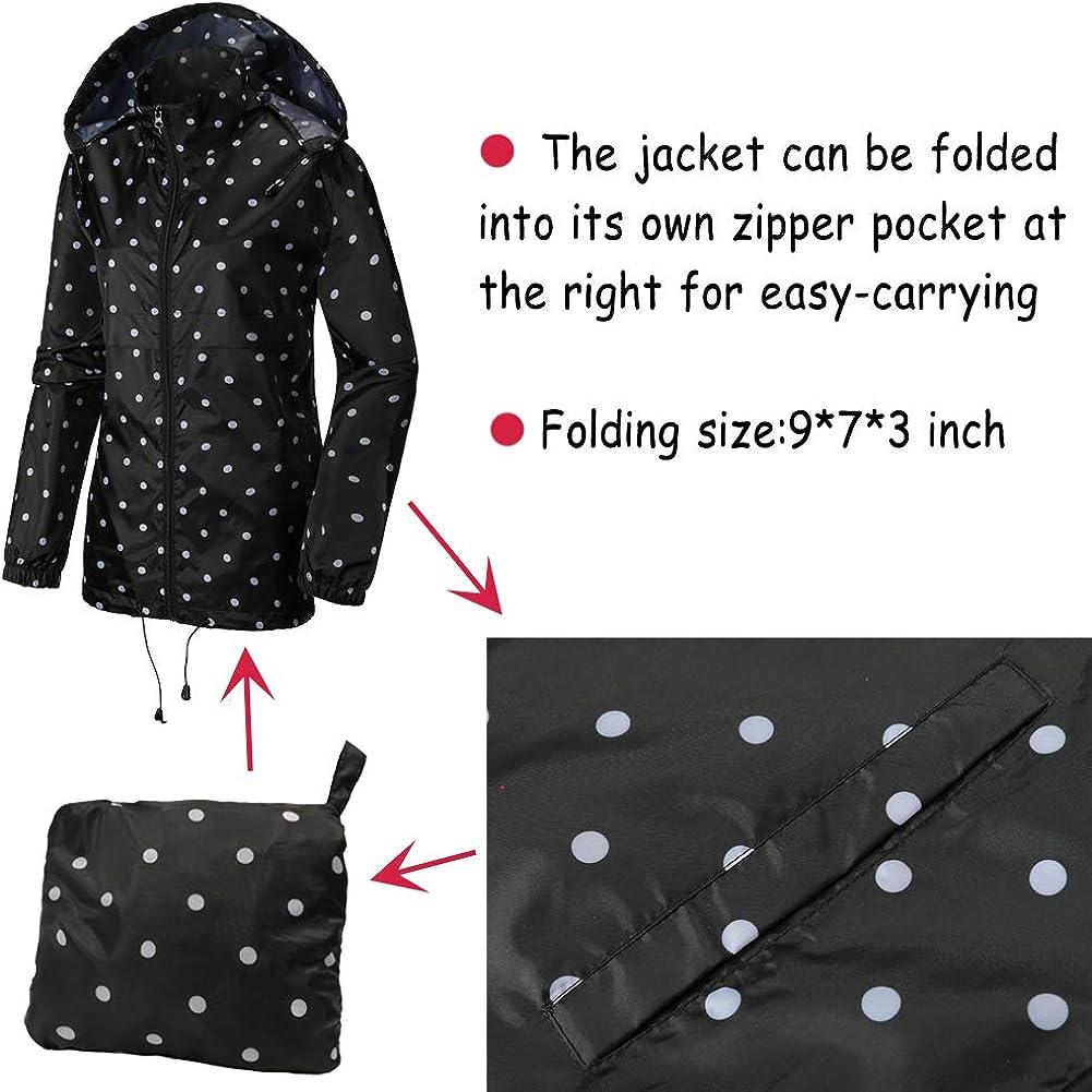 SUNDAY ROSE Women Rain Jacket Packable Waterproof Raincoat Hooded Spring Jacket