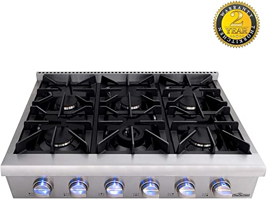 Stainless Steel HRT3618U Inch Thorkitchen Pro-Style Gas Rangetop with 6 Sealed Burners  36