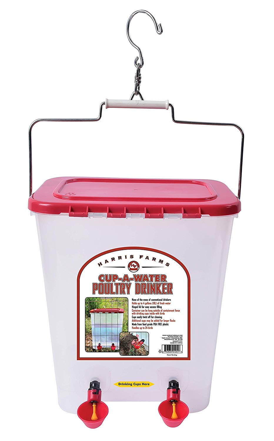 Harris Farms Poultry Drinker, Cup-A-Water, 4 Gallon by Harris Farms