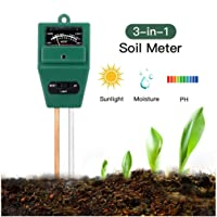 ROTTAY Soil Tester 3-in-1 Plant Moisture Sensor Meter Light PH Soil Test Kit