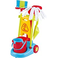 PlayGo My Cleaning Wheel Trolley Set 8PCS Housekeeping Broom, Mop,Organizing Stand Children Cleaning Tools