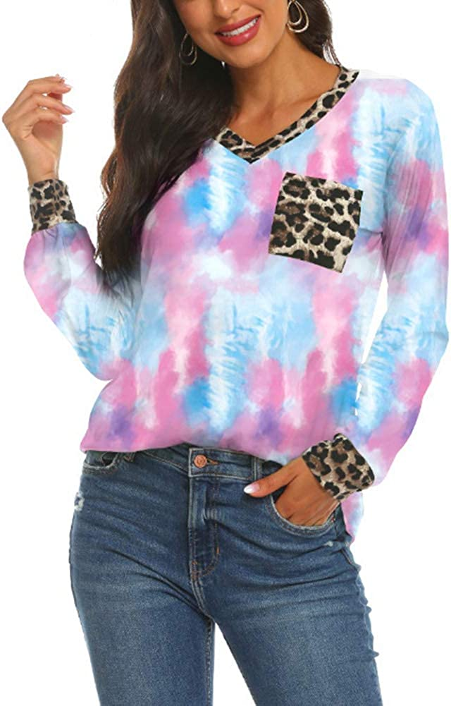 Womens Tie Dye Gradient Rainbow Long Sleeved T Shirt Leopard Splicing V Neck Casual Tunic Tops with Pocket