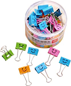 40 Pack 19mm Smiling Binder Paper Clips/Mini Colored Metal Foldback Fun Clip Clamps with Cute Hollow Smile Face for Pictures Photos, Food Bags, Assorted Color (0.75 inch, Small)