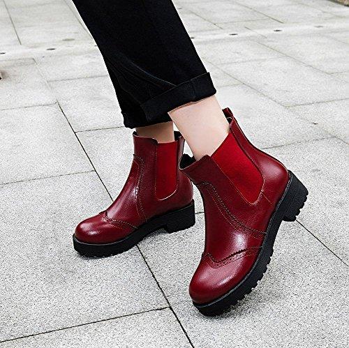 Carolbar Femme Rétro Vintage Mode Confort Pull-sur Mi-talon Bottes Courtes Vin Rouge
