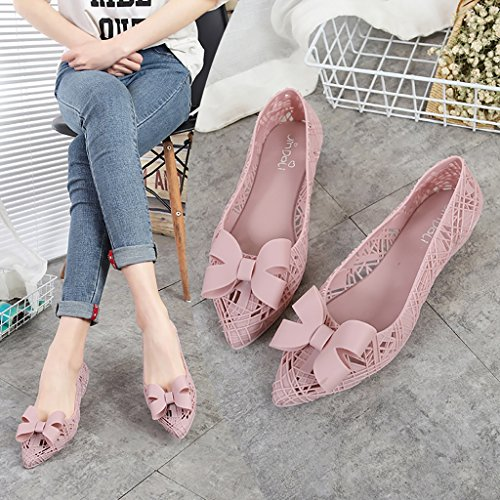 QYQpdx Women's Anti-Skid Jelly Bow Shallow Flat Shoes Ladies Casual Waterproof rain Boots Water Shoes Pink RIbaOje3