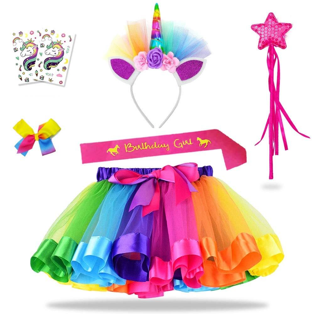 Daisyformals Unicorn Rainbow Tutu Skirt Set (7 Pack) with Unicorn Headband, Fairy Wand, Unicorn Birthday Sash and Hairbow + Free Unicorn Tattoos Perfect for Girls Unicorn Party Favors(3-8 Years) by DaisyFormals