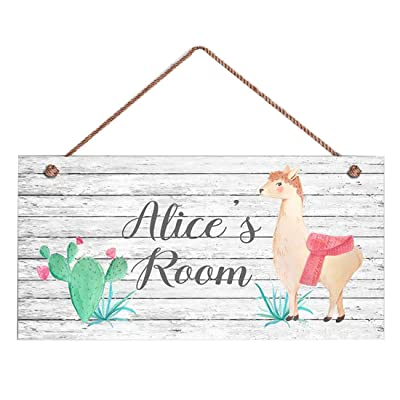 """INNAPER Llama Sign, Beige Llama and Cacti Personalized Sign, Kid\'s Name, Kids Door Sign, Animal Nursery Art, 5\"""" x 10\"""" Sign: Home & Kitchen [5Bkhe0705051]"""