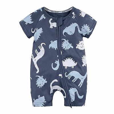 Moonker Babies Onesies,Newborn Baby Boys Girls Dinosaur Zipper Short Sleeve Rompers Jumpsuit