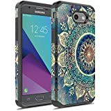 J7 V Case, Galaxy J7 Prime Case, Galaxy J7 Sky Pro Case, Galaxy J7 Perx Case, Galaxy Halo Case, Rosebono Dual Layer Shockproof Hard Cover Graphic Case for SM-J727 (Green Mandala)