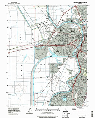 Sacramento West CA topo map, 1:24000 scale, 7.5 X 7.5 Minute, Historical, 1992, updated 1997, 26.8 x 21.5 IN - - Map Crocker Park