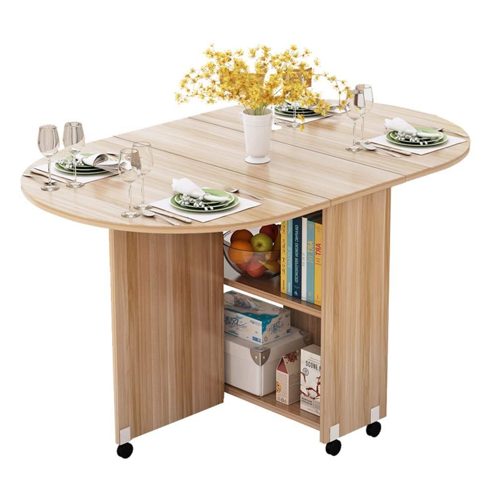 XIAOYAN Mesa Plegable con Ruedas Mesa de Comedor Redonda Simple La Mesa Mahjong Tiene Capacidad para 4-6 Personas
