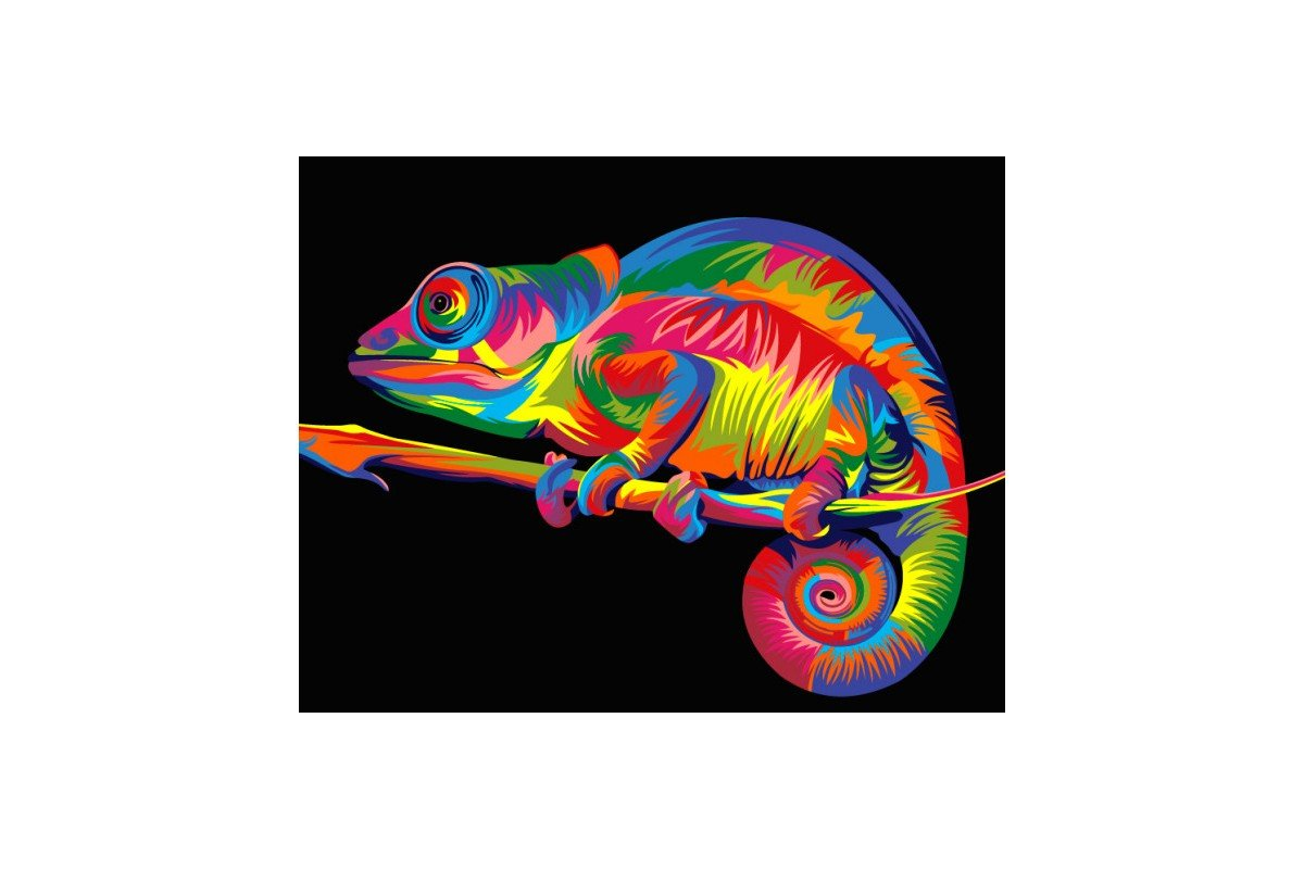 PAINT BY NUMBERS KIT RAINBOW CHAMELEON 40 x 50 cm T40500004