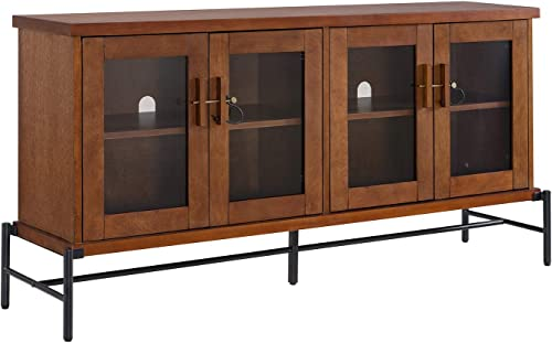Sideboard Buffet with Glass Doors – Credenza Storage Cabinet – Metal Wood Construction