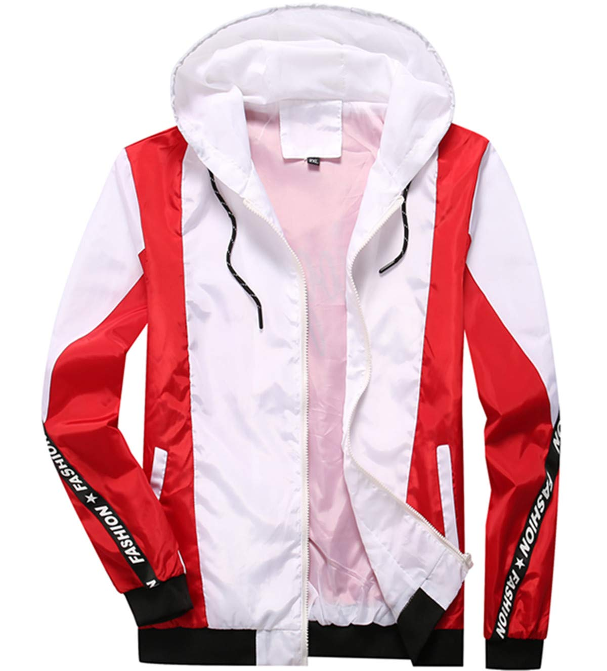 Homaok Men's Lightweight Breathable Jacket Small White and red by Homaok