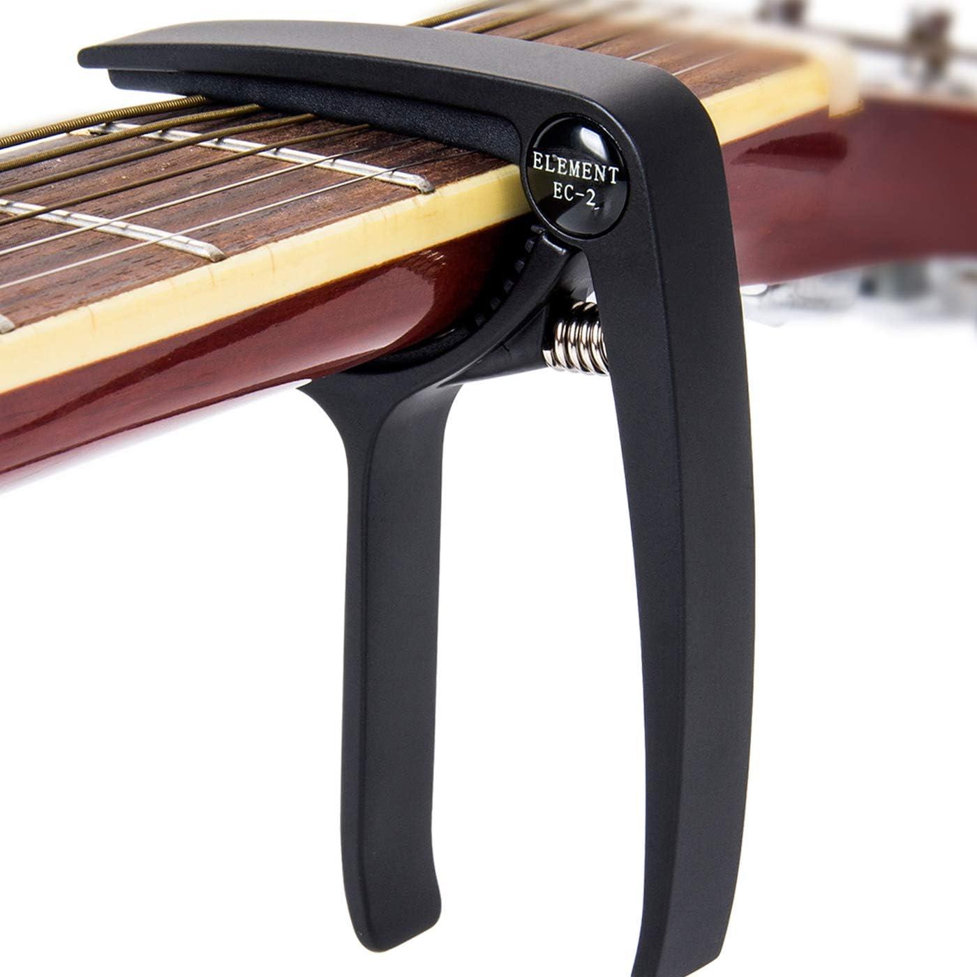 DigitalLife Trigger Capo Guitarra - Cejilla de Guitarra Acústica pare 6 Cuerdas, Guitarra Eléctrica, Bajo, Ukelele [Aleación de Zinc, Negro]