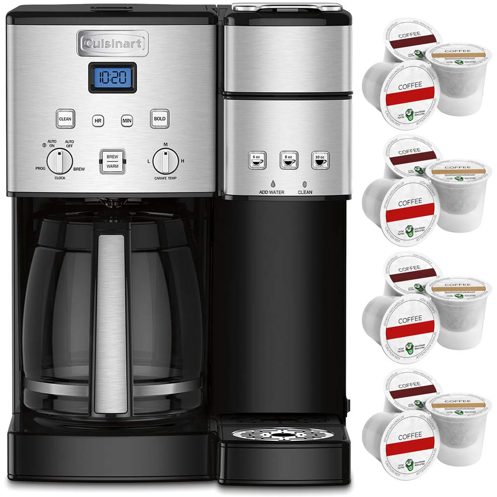 Cuisinart 12-Cup Coffee Maker and Single-Serve Brewer, Stainless Steel (SS-15) with 12 Bonus K-Cup Sample Pack