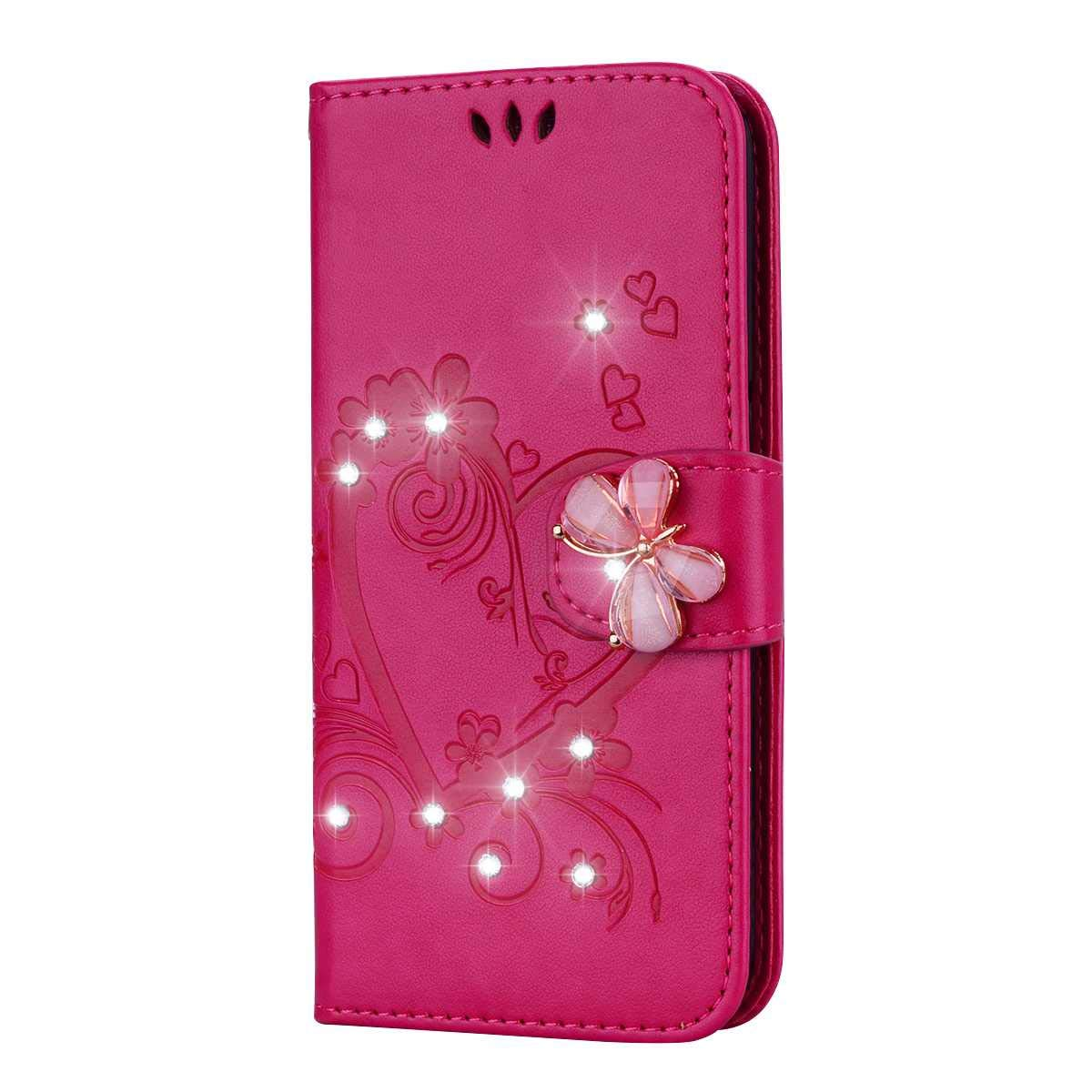 Bear Village Case Compatible with Huawei Y6 2018 / Honor 7A, Leather Full Body Protective Cover with Credit Card Slot, Magnetic Closure and Kickstand Function, Rose Red by Bear Village