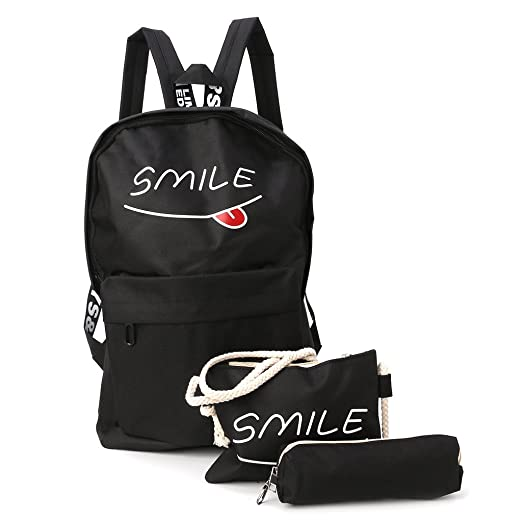Numkuda 3Pcs Women Backpack Girl Smile Shoulder Bag Rucksack Travel School  Bags Satchel (black) 0e2771a035aa3