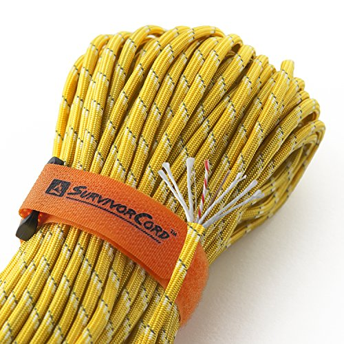 Titan SurvivorCord | Reflective Yellow | 103 Feet | Patented Military Type III 550 Paracord/Parachute Cord (3/16 Diameter) with Integrated Fishing Line, Fire-Starter, and Snare Wire.