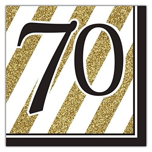 Black & Gold 70th Lunch Napkins - 32 Count (Value-Pack)