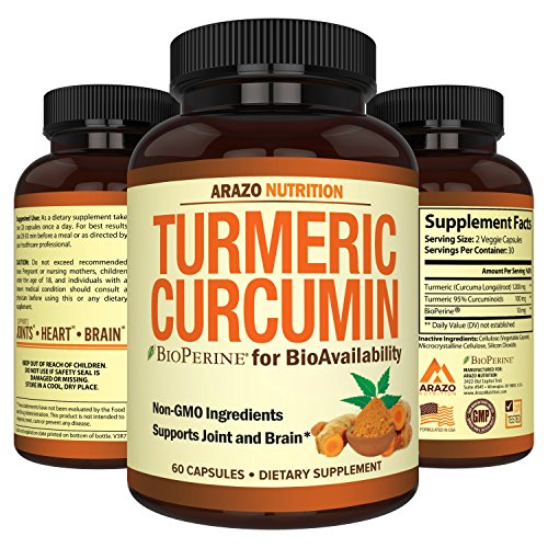 (Turmeric Curcumin with BioPerine 1300MG with Black Pepper - Joint Support Nutritional Supplements - 100% Herbal Tumeric Root Capsules - Arazo Nutrition)